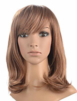 Medium Long Natural Curly Wavy Synthetic Fiber Women Party With Bangs