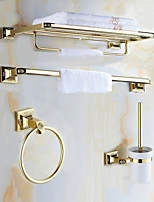 Mordern Gold Color Luxury Brass Rose Pattern 4pcs Bathroom Accessory Set