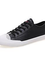 Белый Черный-Для мужчин-Для прогулок Повседневный-Дерматин-На плоской подошве-Удобная обувь-Кеды