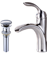Contemporary Centerset Waterfall Widespread Pre Rinse with  Ceramic Valve Single Handle One Hole for  Nickel Brushed , Bathroom Sink