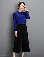 Women's Work Simple Summer T-shirt Dress Suits,Solid Shirt Collar ¾ Sleeve Cotton