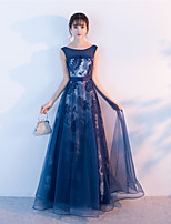 Formal Evening Dress - Lace-up A-line Jewel Floor-length Tulle with Sash / Ribbon