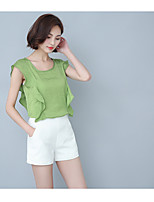 Women's Casual/Daily Simple T-shirt,Solid Round Neck Sleeveless Polyester