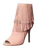 Women's Sandals Summer Slingback Gladiator Fleece Dress Stiletto Heel Zipper Tassel Blushing Pink Beige Black