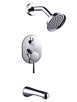 Contemporary Art Deco/Retro Modern Tub And Shower Rain Shower Handshower Included with  Ceramic Valve Two Handles Four Holes for Chrome Shower Faucets