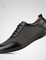 Men's Oxfords Summer Comfort Cowhide Casual Wedge Heel Black Light Brown Dark Brown