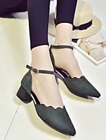 Черный Серый Зеленый-Для женщин-Повседневный-Дерматин ПолиуретанУдобная обувь клуб Обувь-Сандалии