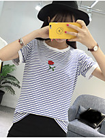 Women's Casual/Daily Simple T-shirt,Striped Embroidered Round Neck Short Sleeve Cotton