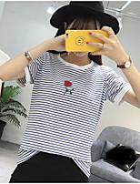 Damen Gestreift Stickerei Einfach Lässig/Alltäglich T-shirt,Rundhalsausschnitt Kurzarm Baumwolle