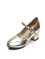 Non Customizable Women's Latin Leather Split Sole Indoor Buckle Stitching Lace Low Heel Gold 1