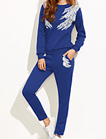 Women's Casual/Daily Simple Hoodie Pant Suits,Solid Print Round Neck
