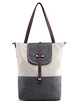 Women Shoulder Bag Canvas All Seasons Sports Casual Outdoor Office & Career Professioanl Use Shopper ZipperDark Fuchsia Light Gray Coffee
