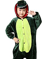 Kigurumi Pajamas Dragon Leotard/Onesie Festival/Holiday Animal Sleepwear Halloween Green Animal Print Flannel Cosplay Costumes For Kid