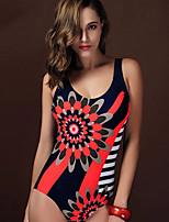 Une-pièce Aux femmes Taille Haute Couleur Pleine Fleur décolleté Plongeant Licou Polyester Spandex