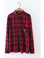 Для женщин На выход На каждый день Лето Рубашка Рубашечный воротник,Секси Простое Уличный стиль Шахматка Длинный рукав,Хлопок,Тонкая