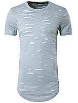 Tee-shirt Homme,Couleur Pleine Décontracté / Quotidien simple Eté Manches Courtes Col Arrondi Coton Opaque