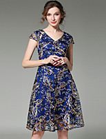 Fashion V Neck Short Sleeve Embroidered Long Skirt Leisure Vacation Party Home Family Gathering Dress
