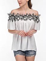 Damen Solide Patchwork Sexy Anspruchsvoll Lässig/Alltäglich Urlaub T-shirt,Bateau Sommer Kurzarm Baumwolle Dünn