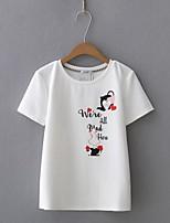 Damen Druck Sexy Einfach Street Schick Ausgehen Lässig/Alltäglich T-shirt,Rundhalsausschnitt Sommer Kurzarm Seide Baumwolle Mittel