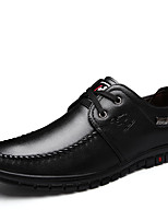 Men's Spring Summer Fall Winter Leather Office & Career Casual Party & Evening Low Heel Black