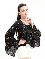 Для женщин На каждый день Весна Осень Блуза V-образный вырез,Простое Цветочный принт Длинный рукав,Полиэстер,Средняя