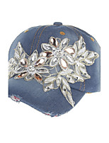 Women's Handmade Studded With Diamonds Of Old Denim Fashion Summer Or Spring Simple Sun Heart Print Baseball Hats Caps