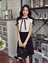 Для женщин На выход На каждый день Офис Простое Уличный стиль Изысканный Прямое Оболочка Черный и белый Платье Контрастных цветов,