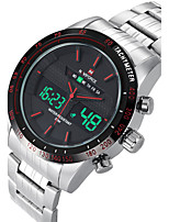 NAVIFORCE Men's Sport Watch Fashion Watch Wristwatch Casual Watch Quartz Digital Calendar Dual Time Zones Stainless Steel Band Luxury Cool Unqiue