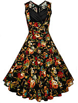 Women's Plus Size Going out Holiday Vintage Swing Dress,Floral V Neck Midi Sleeveless Cotton Summer Mid Rise Inelastic Medium
