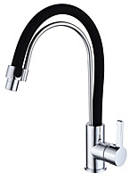 Modern Standard Spout Centerset Widespread with  Ceramic Valve Single Handle One Hole for  Chrome , Kitchen faucet