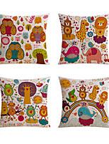 4 штук Лён Оригинальные подушки Наволочки Подушки для тела Дорожные подушки Диван Подушка,Животные Анималистический принт Праздник