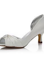 Со стразами-Для женщин-Свадьба Для прогулок Для офиса Для праздника Для вечеринки / ужина-Шёлк-На низком каблуке-Удобная обувь Dyeable
