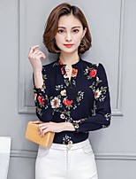 Women's Casual/Daily Work Holiday Sexy Vintage Cute All Seasons Summer Shirt,Floral Stand Long Sleeve Rayon Thin