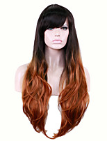 Long Straight Side Black Brown Women Synthetic Wig Fiber Cheap Cosplay Party Hair