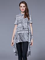 Damen Druck Street Schick Ausgehen Lässig/Alltäglich T-shirt,Hemdkragen Sommer Kurzarm Polyester Dünn