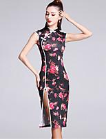 Latin Dance Dresses Women's Performance Viscose Pattern/Print 1 Piece Sleeveless Natural Dress