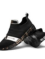 Masculino-Tênis-Conforto Solados com LuzesPreto e Dourado Branco/Preto-Sarja-Escritório & Trabalho Casual Para Esporte