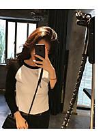 Для женщин На выход На каждый день Все сезоны Рубашка Круглый вырез,Простое Уличный стиль Однотонный Длинный рукав,Хлопок,Средняя