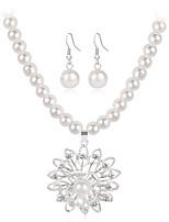 Ожерелье / серьги Мода Euramerican Жемчуг Сплав В форме цветка 1 ожерелье 1 пара сережек Для Свадьба Для вечеринок Обручение Повседневные