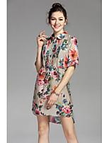 Ample Robe Femme Décontracté / Quotidien Mignon,Imprimé Col de Chemise Au dessus du genou Manches Courtes Lin Printemps Eté Taille Normale