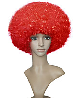 Short Capless Afro Kinky Curly Fun Wig Red Clown For Unisex Halloween Adult Costume Wig