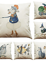 Set of 6 Hand-painted Animals Pattern Linen Pillowcase Sofa Home Decor Cushion Cover  Throw Pillow Case (18*18inch)