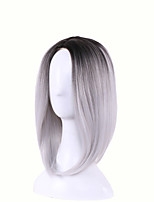 Straight Short Black to Gray Fashion Heat Resistant Cosplay Wig