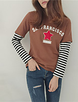Women's Casual/Daily Simple Spring T-shirt,Patchwork Round Neck Long Sleeve Cotton Thin