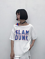 Tee-shirt Femme,Couleur Pleine Lettre Sortie Chic de Rue Manches Courtes Col Arrondi Coton