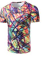 Herren Druck Einfach Lässig/Alltäglich T-shirt,Rundhalsausschnitt Kurzarm Baumwolle