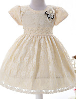 Ball Gown Tea-length Flower Girl Dress - Polyester Lace Jewel with Bow(s) Flower(s) Pearl Detailing Sash / Ribbon