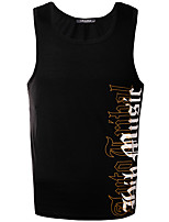 4 Colors Plus Size M-3XL Men's Casual/Daily Vintage Simple Summer Tank TopSolid Print Round Neck Sleeveless Cotton Medium