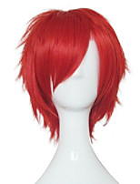 Capless Big Red Young Man Cosplay Wig  Synthetic Straight  Hair Short Wigs