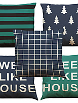 Set of 5 Scandinavian-style Geometric Pattern  Linen Pillowcase Sofa Home Decor Cushion Cover (18*18inch)